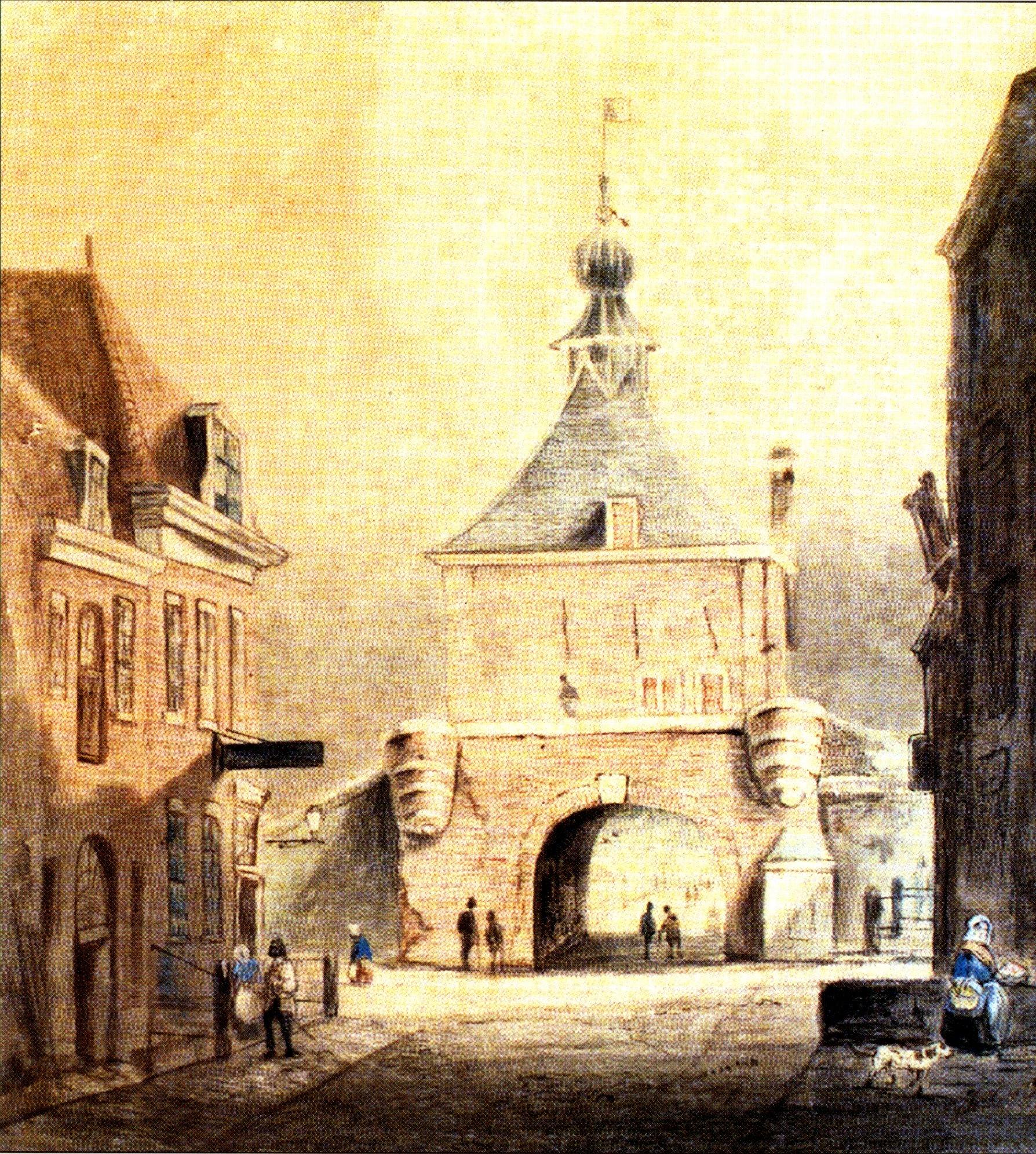 Arkelpoor binnen aquarel 1850