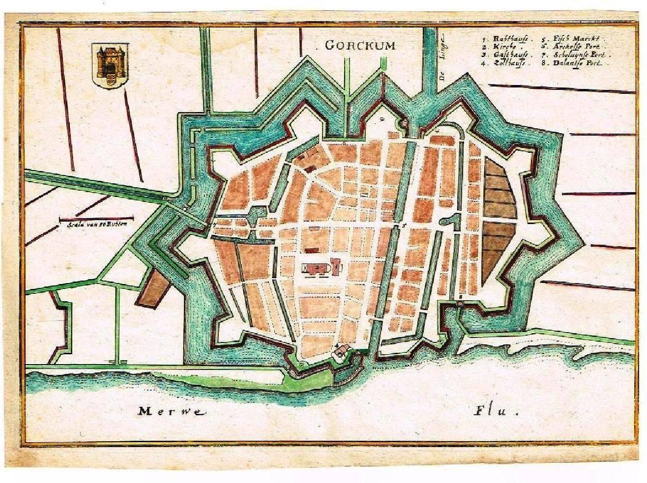 Duitse kaart van Gorinchem