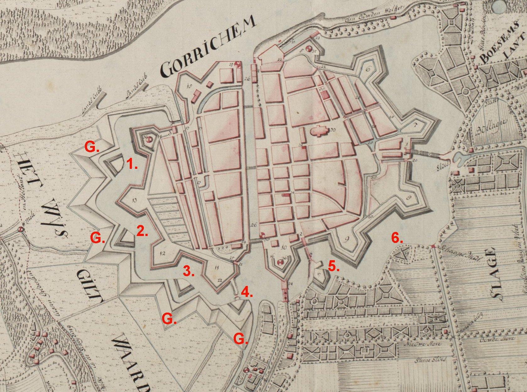 Gorinchem plattegrond 1776