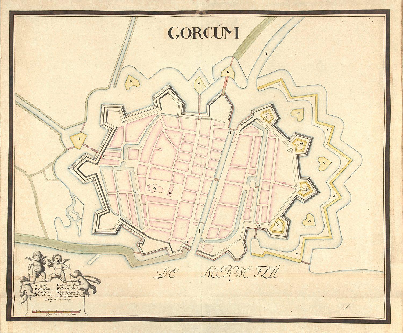 Gorinchem plattegrond ca 1700