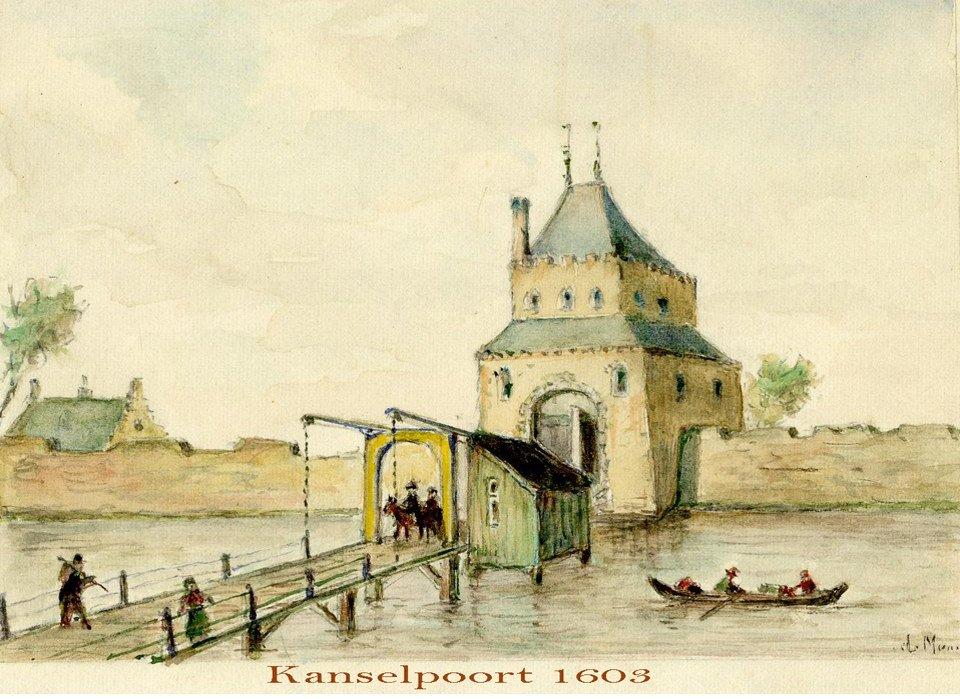 Kanselpoort 1603 aquarel