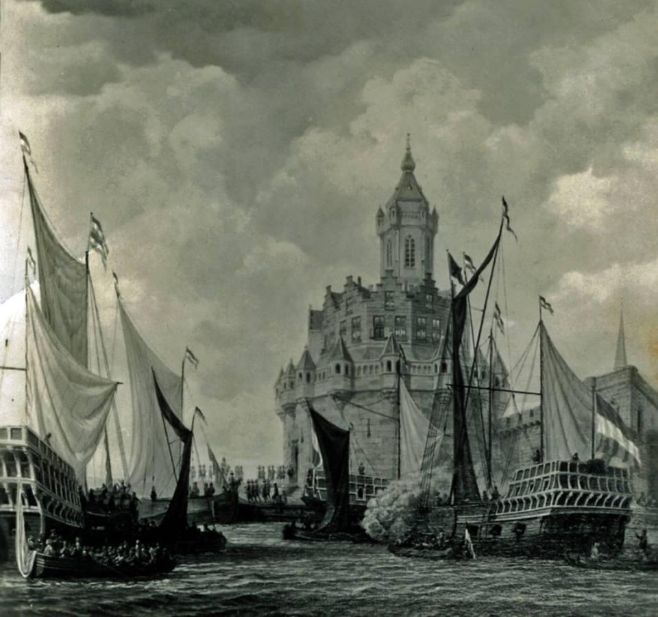 Tekening Blauwe Toren met zeilschepen