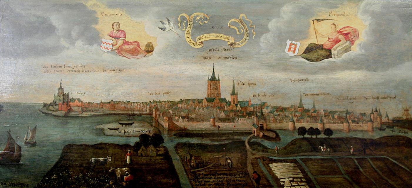 Zicht op de middeleeuwse stad vanuit het oosten onbekende schilder 1568