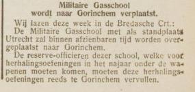Militaire gasschool verplaatst naar Gorinchem - Nieuwsblad (voor Gorinchem en omstreken), 28011938