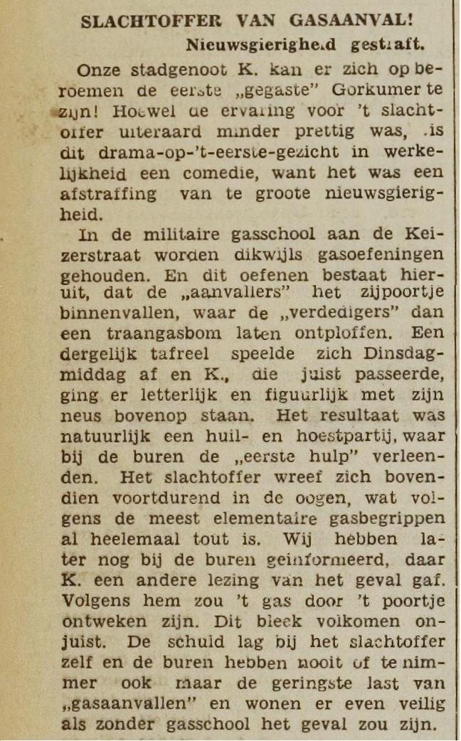 Nieuwsgierigheid gestraft - Slachtoffer van gasaanval - De Gorcumer, 26-10-1938