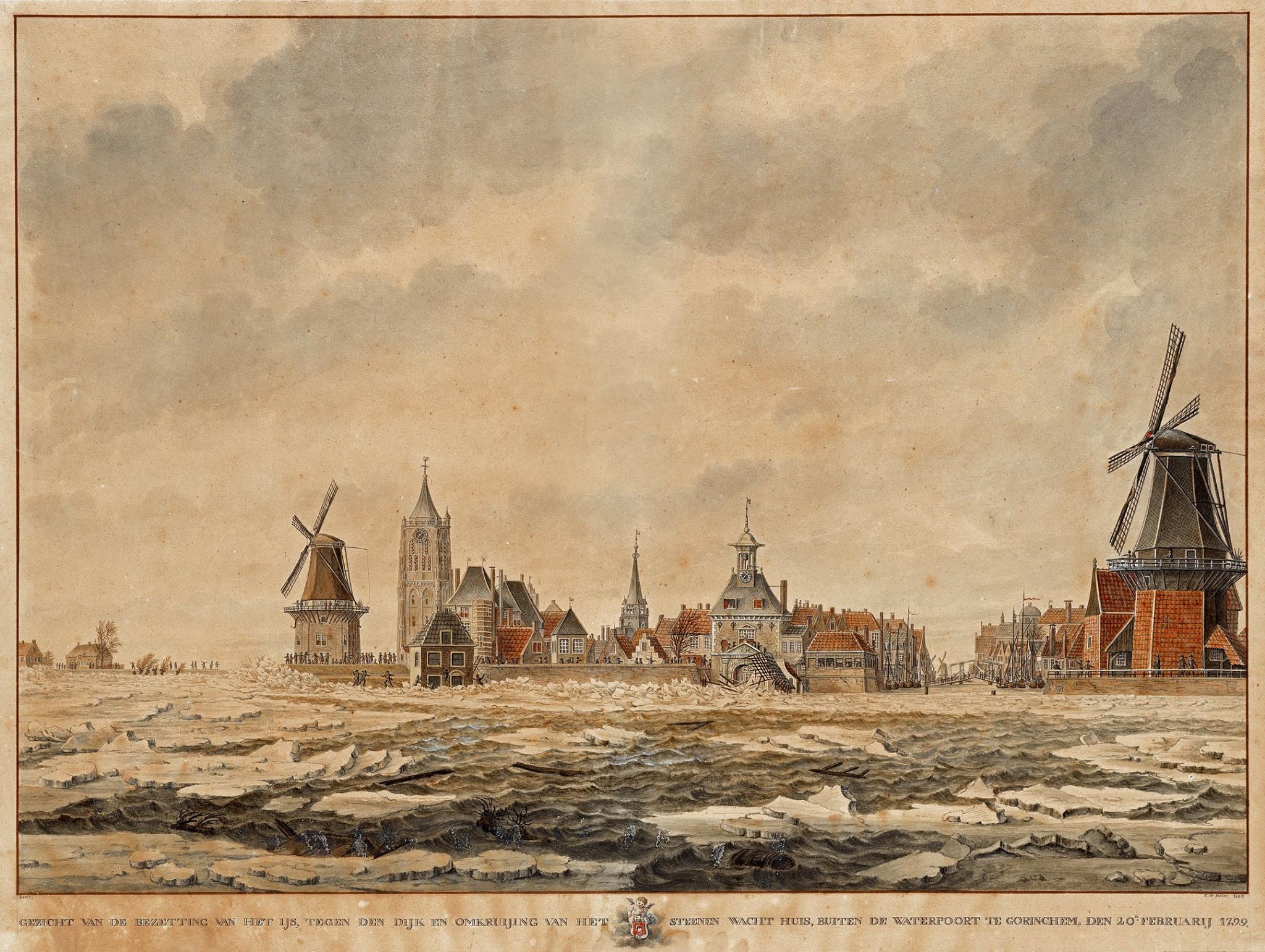 Gorinchem en Lingehaven met kruiend ijs