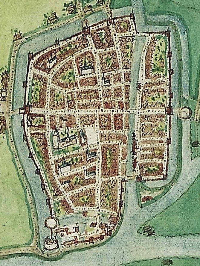 Kaart Jacob van Deventer 1545 alleen stad kleur