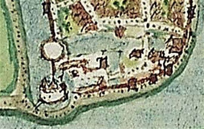 Kasteel de Blauwe Toren dtail uit krt_1545_Jacob_van_Deventer
