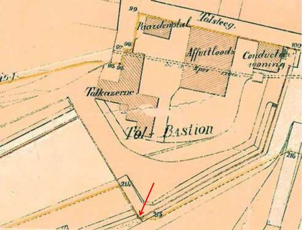 Tol Bastion krt Genie eind 19e eeuw pijl