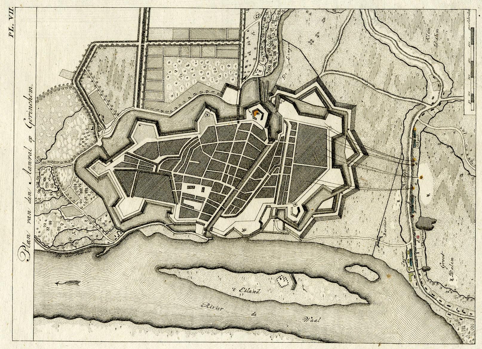 Plattegrond met ruwe lijnen vanuit geschutsstellingen in Dalem van de beschieting van de vesting Gorinchem september 1787