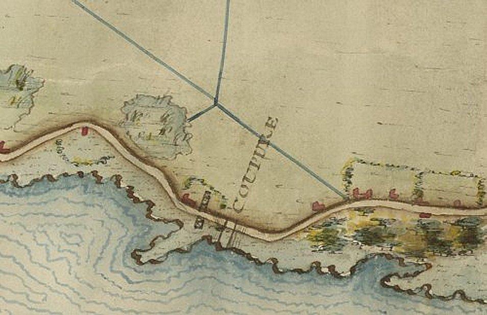 Dijkpost Hercules bij Dalem op kaart Charles Fuzçij d'Ablincourt 1795 detail vergroot