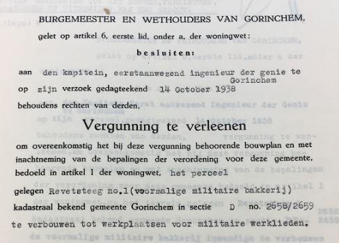 Vergunning verbouwing militaire bakkerij 19381014