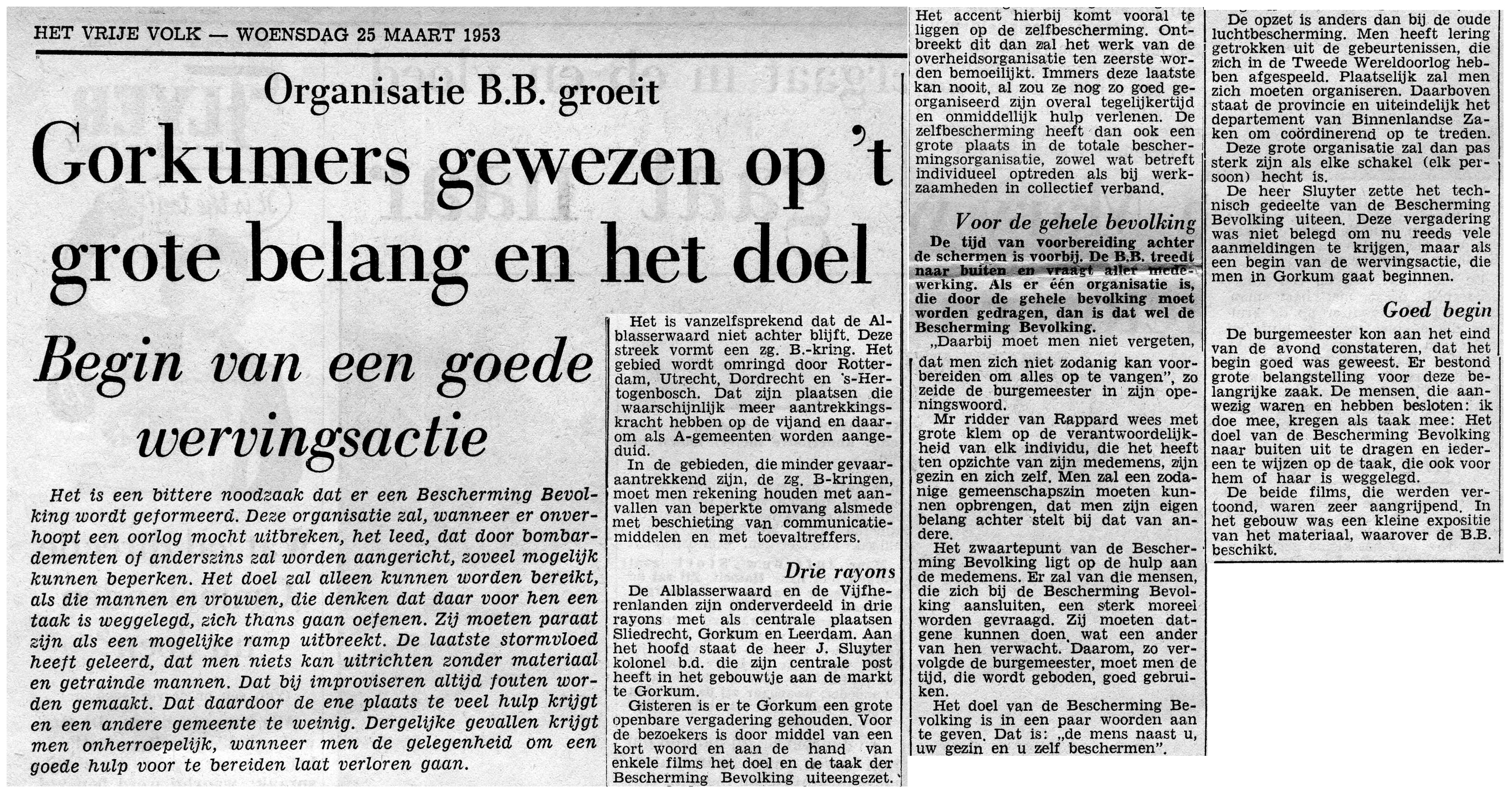 artikel vrije volk 19530325